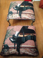 Footstool and matching pillow, featuring a grand piano