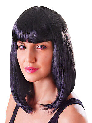 Black Long Bob Wig Nikki Minaj Celebrity Style 80s Chick Fancy Dress Accessory