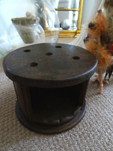 antique Buggy FOOT STOVE primitive COLONIAL Victorian round TIN
