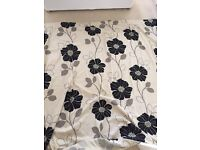 Cream and Black Flower Curtains