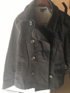H&M Women's Black Peacoat jacket. Size Large.  Waist Length.
