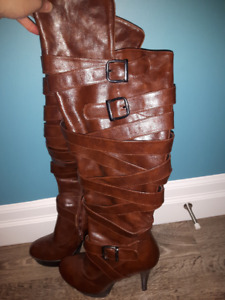 EUC- Over the knee brown boots