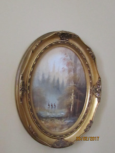 Oil paintings in oval frames
