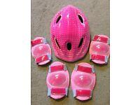 Girls Pink Helmet, Elbow and Knee Pads
