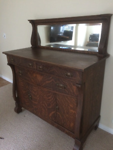Beautiful Tiger Oak Cabinet Antique