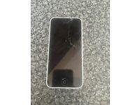 White iPhone 5c (cracked screen)