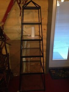 Metal frame with glass shelves