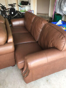 4 Piece Brown Leather Couch Set