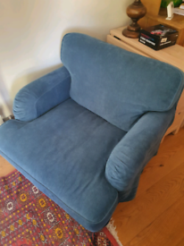 Ikea Stocksund large armchair with black legs and Tallmyra blue cover