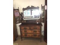 Beautiful Victorian Walnut Dressing Table / Drawers with 3 Way Mirror - UK DELIVER