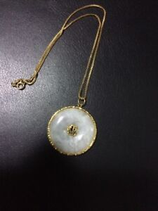 WHITE JADEITE GOOD FORTUNE PENDANT AND NECKLACE