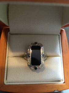 Custom 14K White Gold w/ Black Onyx Black Diamonds Vintage Ring