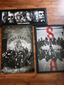 3 sons if anarchy framed pictures