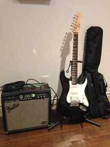 Electric Guitar+Amp+Case+Stand