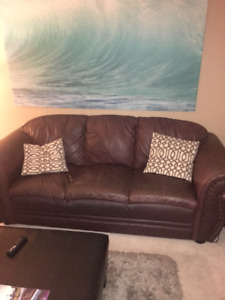 Couch, Chair (burgundy faux leather)