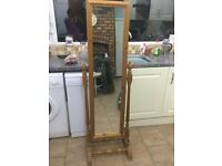 Solid pine cheval mirror ideal shabby chic upgrade.