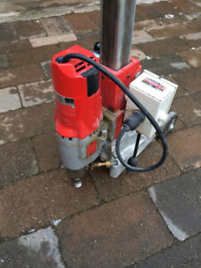 Milwaukee Core Drill with Stand, Vacuum and 5 Diamond Core Bits