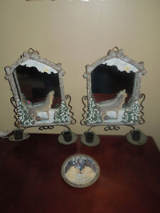 Wolf Mirror Wall Sconces & Wall Plate