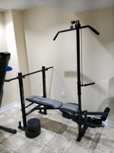 New Condition Bench Flat/incline with Lat Bar
