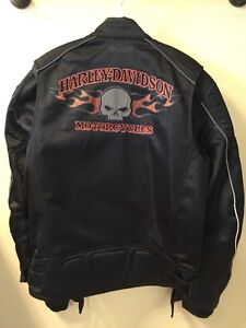 Brand New Harley-Davidson® Mens Burning Skull Mesh Black Jacket