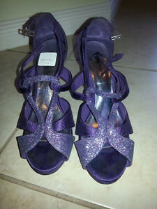 Purple stiletto open toe heel 7.5