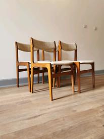 Mid Century Danish Teak Chairs by Erik Buch