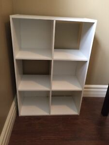 White shelf and tv stand
