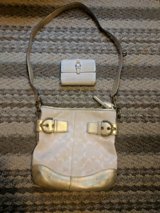 White & Gold Coach purse and wallet