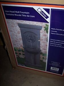 LION HEAD WALL FOUNTAIN & OTHER OUTDOOR DECORS.