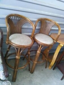 Two 28'' Rattan Counter/Bar Height Stools