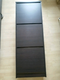 Shoe cabinet with 3 compartments, Black Ikea BISSA, Perfect condition