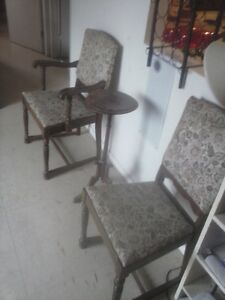 2 Antique chairs and lamp stand.