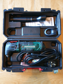 Parkside corded multitool multi tool + accessories and carry case