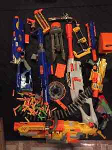 Various Nerf Guns and Accessories