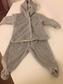 Grey baby velour mouse tracksuit aged up to 3 months