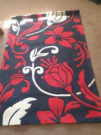 Rug Red and Black Flower Theme