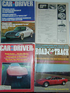 Car & Driver and Road & Track magazines from early 1970s