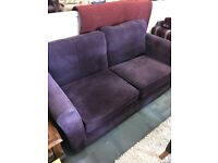 2 seater purple sofa with chair