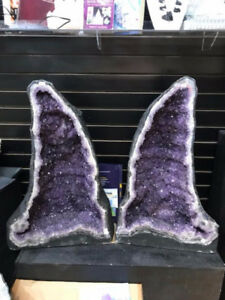 HUGE AMETHYST GEODE PAIR FROM BRAZIL - THE RUSSIAN STONE