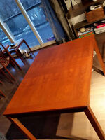 Mid Century Modern Teak Dining Table w Leaf- 4-6 ft REFINISHED