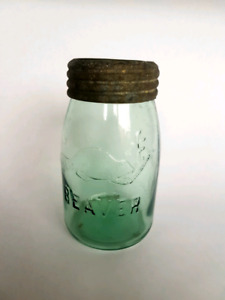 Beaver quart glass canning jar