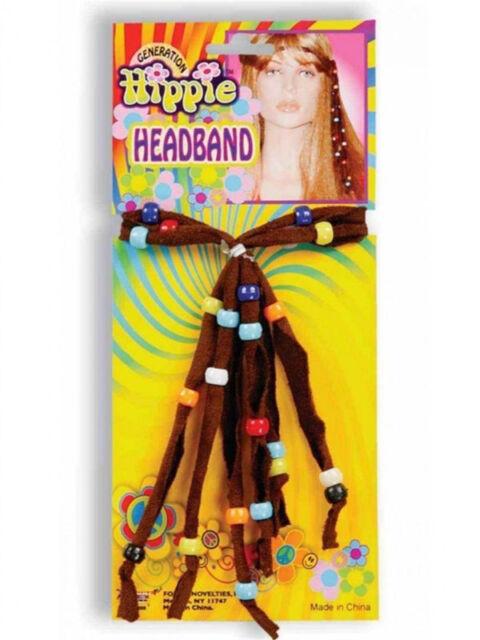 Beaded Hippie Headband 60's 70's New Fancy Dress Up Party Jewellery Groovy Hippy