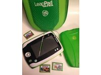 Leapfrog leappad 2 with rubber cover, 3 games and pad and games carry case.