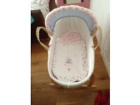Vintage love and kisses Moses basket and stand.