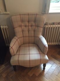 Laura Ashley upholstered button back chair in Keynes fabric