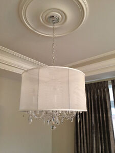 """24"""" Crystal Chandalier with String Shade Drum"""