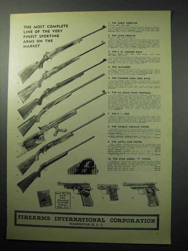 1958 Firearms International Ad - Sako F.N. Aya Lion +