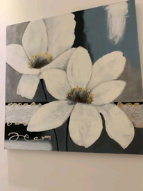 Two large Floral canvas's Pictures