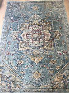 "Light Blue and Navy Turkish area rug 5""1 x 7'6"". New"