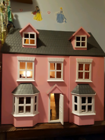 Beautiful Dolls House with Lighting and Furniture